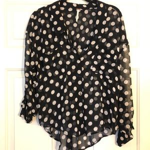 See through polkadots long sleeve top